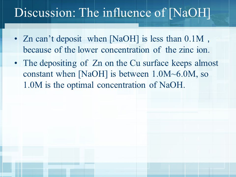 Discussion: The influence of [NaOH] Zn can't deposit when [NaOH] is less than 0.1M , because of the lower concentration of the zinc ion.