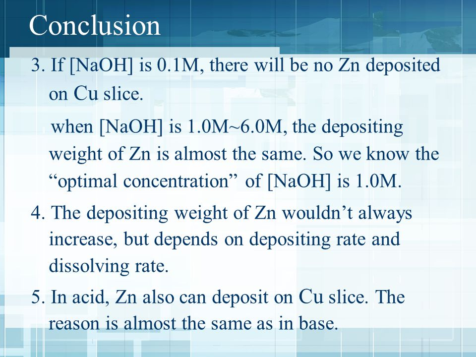Conclusion 3. If [NaOH] is 0.1M, there will be no Zn deposited on Cu slice.