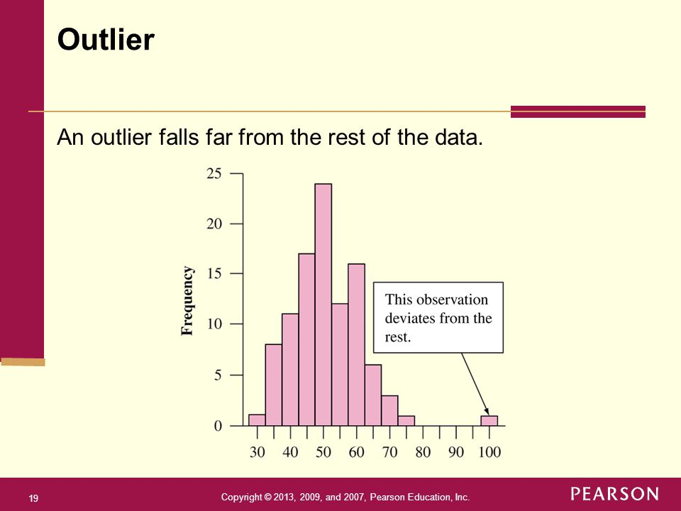 Copyright © 2013, 2009, and 2007, Pearson Education, Inc. 19 An outlier falls far from the rest of the data. Outlier