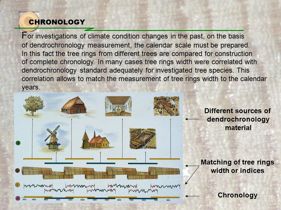 CHRONOLOGY F or investigations of climate condition changes in the past, on the basis of dendrochronology measurement, the calendar scale must be prepared.