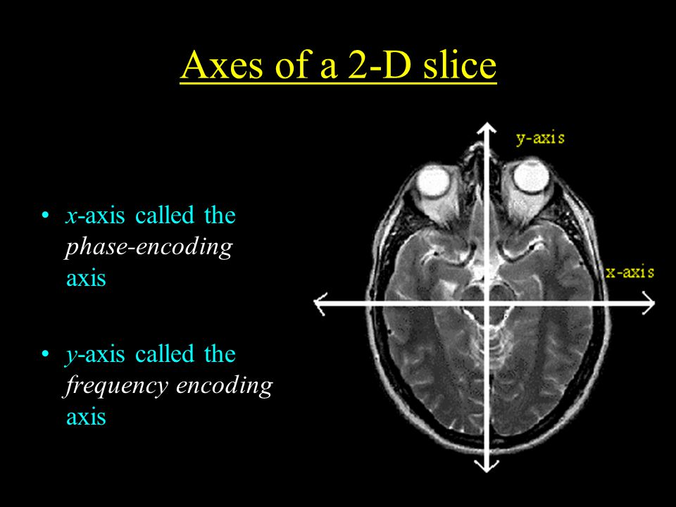 Axes of a 2-D slice x-axis called the phase-encoding axis y-axis called the frequency encoding axis