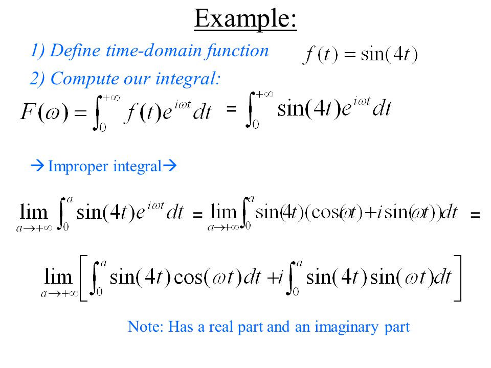 Example: 1) Define time-domain function 2) Compute our integral: =  Improper integral  = = Note: Has a real part and an imaginary part