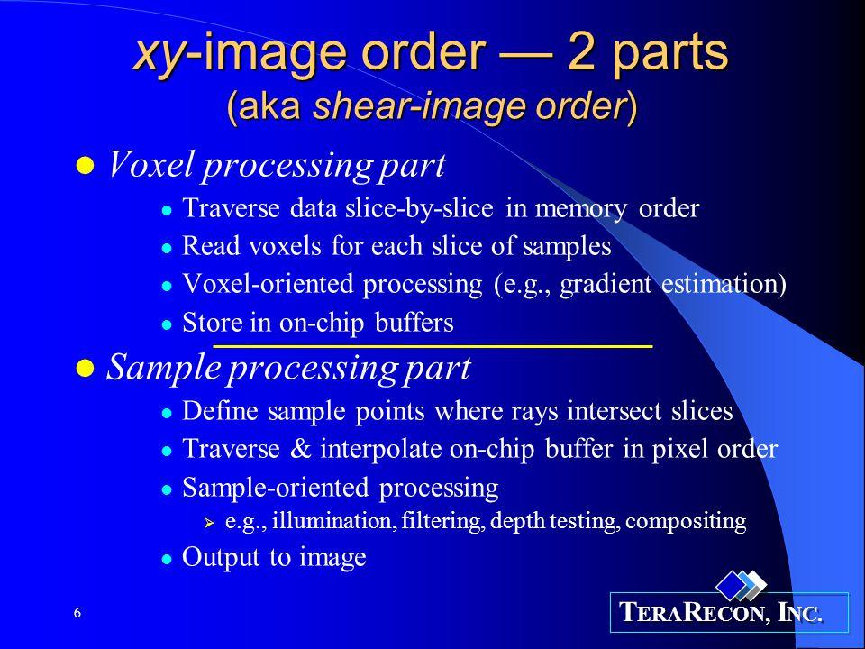 T ERA R ECON, I NC.7 VolumePro 1000 ray-casting (Additional optimizations) Section: rays assoc.