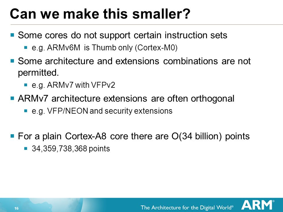 16 Can we make this smaller.  Some cores do not support certain instruction sets  e.g.