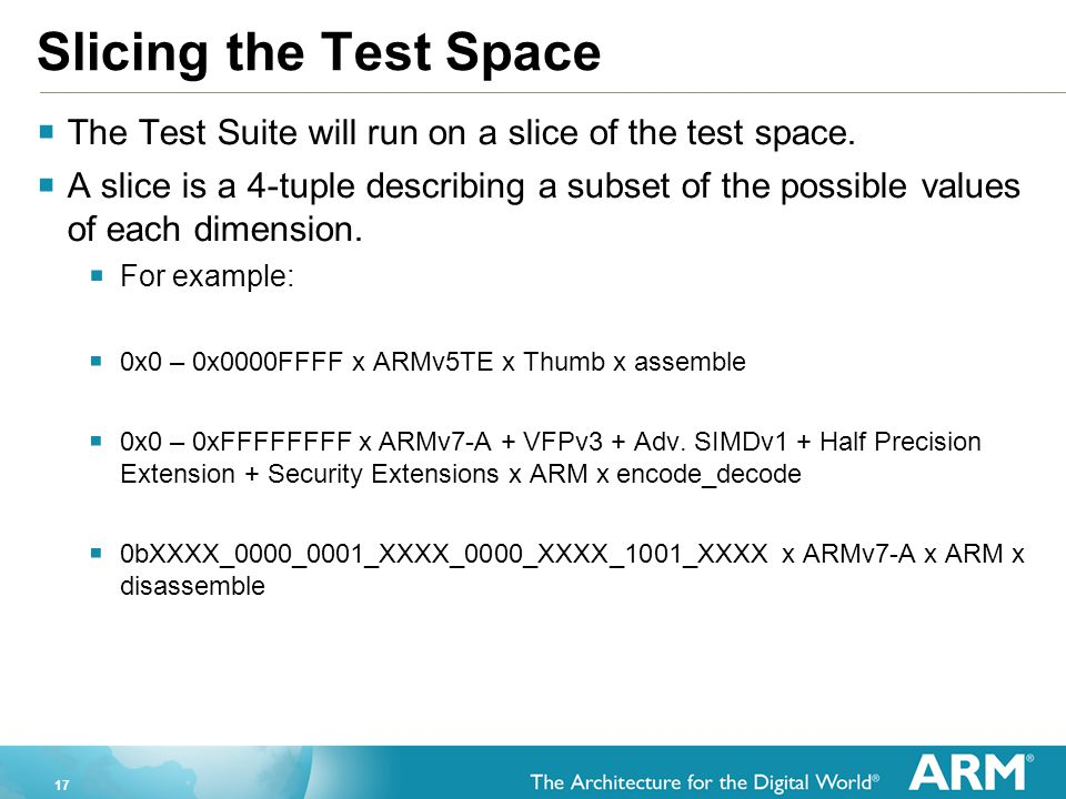 17 Slicing the Test Space  The Test Suite will run on a slice of the test space.