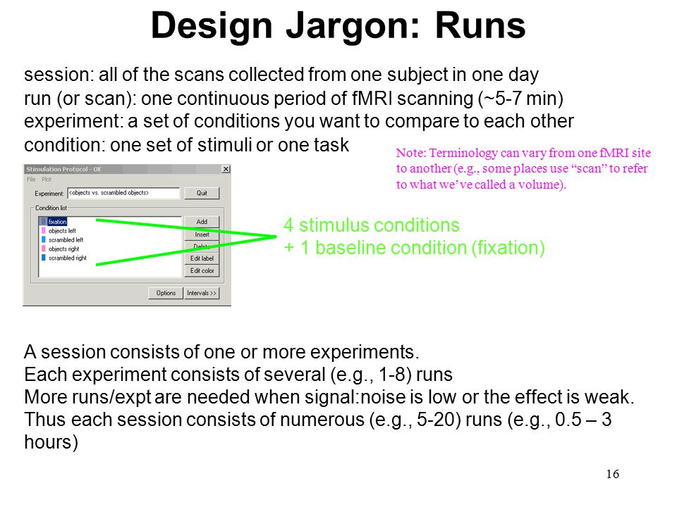 16 Design Jargon: Runs run (or scan): one continuous period of fMRI scanning (~5-7 min) session: all of the scans collected from one subject in one da