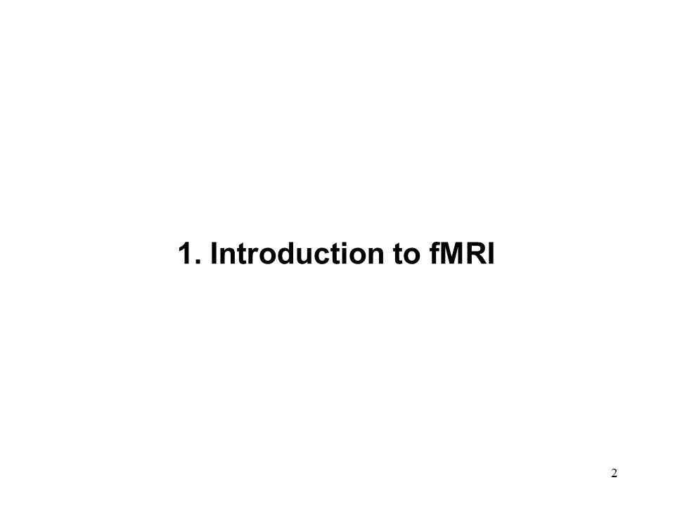 2 1. Introduction to fMRI