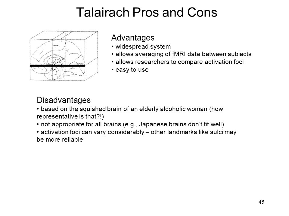 45 Talairach Pros and Cons Advantages widespread system allows averaging of fMRI data between subjects allows researchers to compare activation foci e