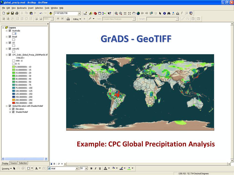 NOS GIS Team GrADS - GeoTIFF Example: CPC Global Precipitation Analysis