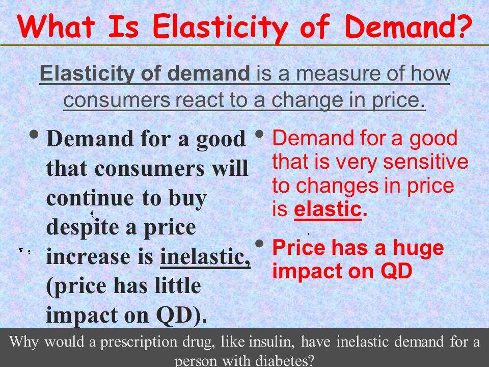 123 Go To Section: What Is Elasticity of Demand? Demand for a good that consumers will continue to buy despite a price increase is inelastic, (price h