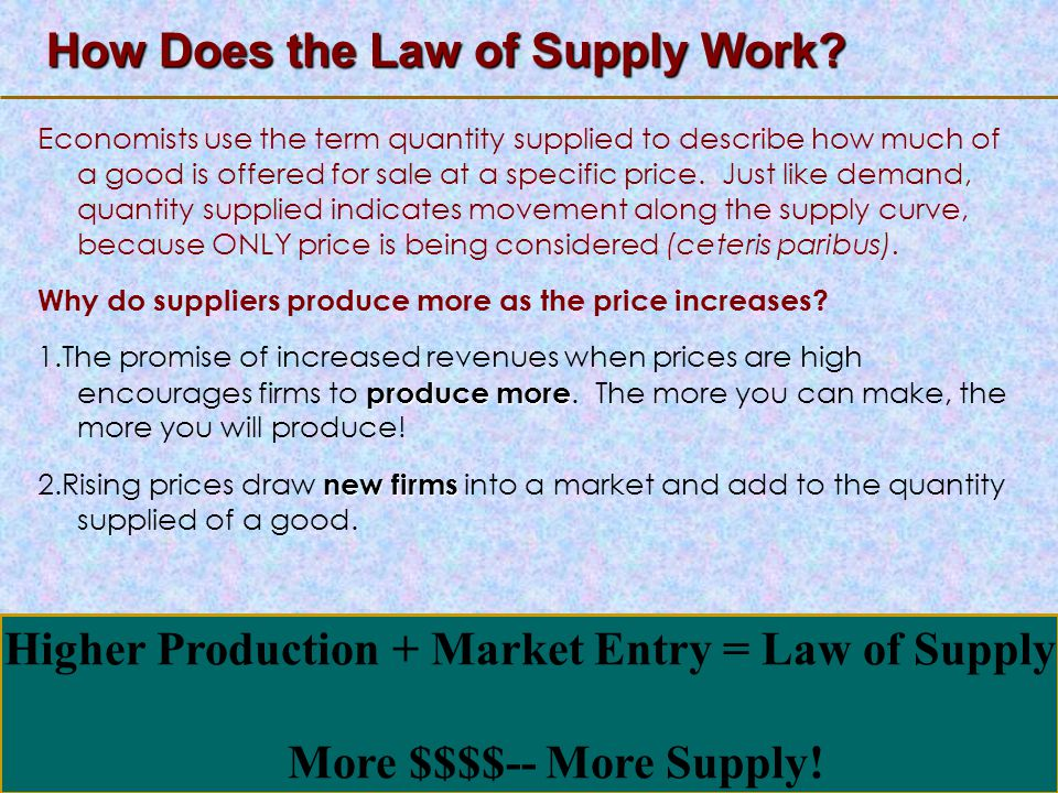 123 Go To Section: How Does the Law of Supply Work? Economists use the term quantity supplied to describe how much of a good is offered for sale at a
