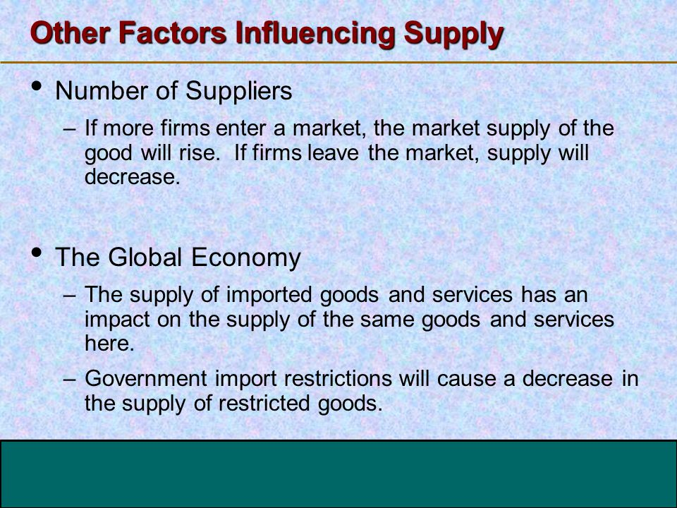 123 Go To Section: Other Factors Influencing Supply Number of Suppliers –If more firms enter a market, the market supply of the good will rise. If fir