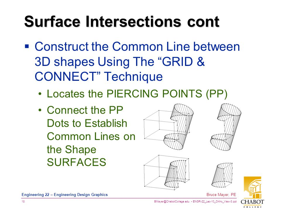 BMayer@ChabotCollege.edu ENGR-22_Lec-10_Ortho_View-3.ppt 18 Bruce Mayer, PE Engineering 22 – Engineering Design Graphics Surface Intersections cont  Construct the Common Line between 3D shapes Using The GRID & CONNECT Technique Locates the PIERCING POINTS (PP) Connect the PP Dots to Establish Common Lines on the Shape SURFACES