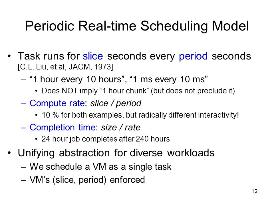 12 Periodic Real-time Scheduling Model Task runs for slice seconds every period seconds [C.L.