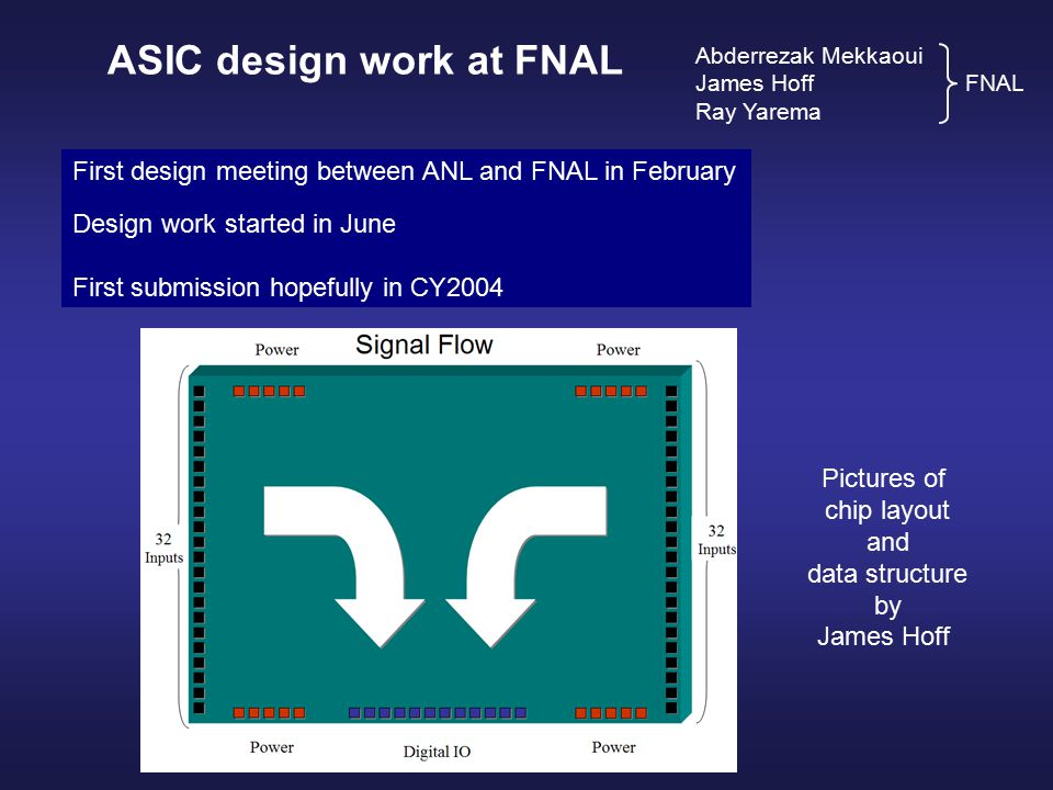 ASIC design work at FNAL Abderrezak Mekkaoui James Hoff FNAL Ray Yarema First design meeting between ANL and FNAL in February Design work started in June First submission hopefully in CY2004 Pictures of chip layout and data structure by James Hoff