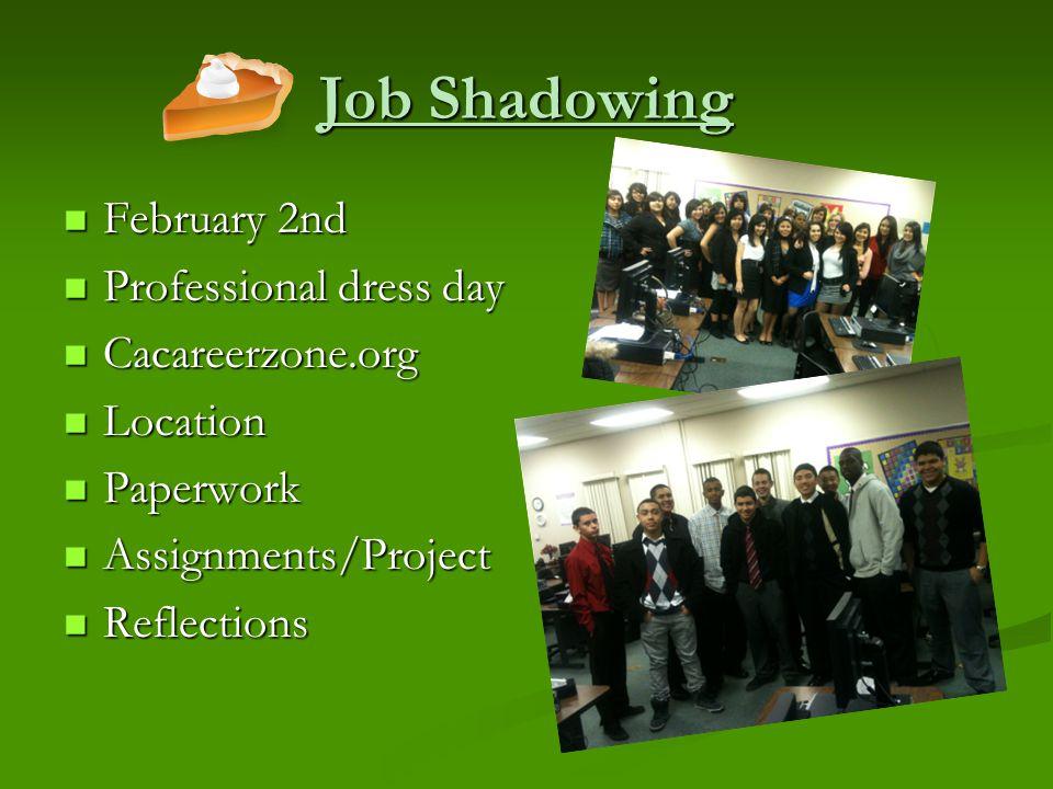 Job Shadowing February 2nd February 2nd Professional dress day Professional dress day Cacareerzone.org Cacareerzone.org Location Location Paperwork Pa