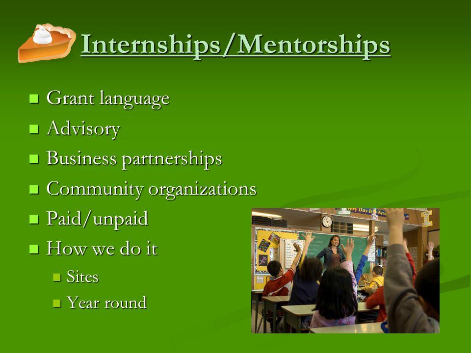 Internships/Mentorships Grant language Grant language Advisory Advisory Business partnerships Business partnerships Community organizations Community