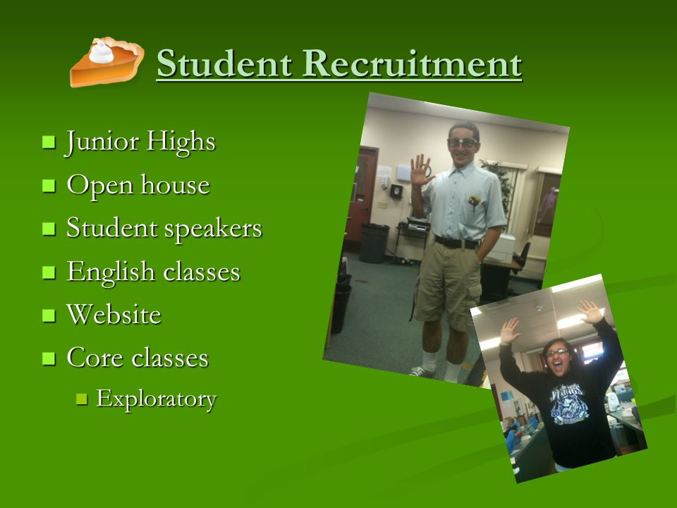 Student Recruitment Junior Highs Junior Highs Open house Open house Student speakers Student speakers English classes English classes Website Website Core classes Core classes Exploratory Exploratory