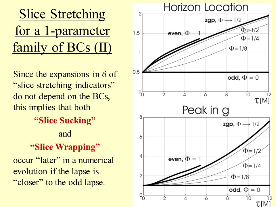 Slice Stretching for a 1-parameter family of BCs (II) Since the expansions in  of slice stretching indicators do not depend on the BCs, this implies that both Slice Sucking and Slice Wrapping occur later in a numerical evolution if the lapse is closer to the odd lapse.