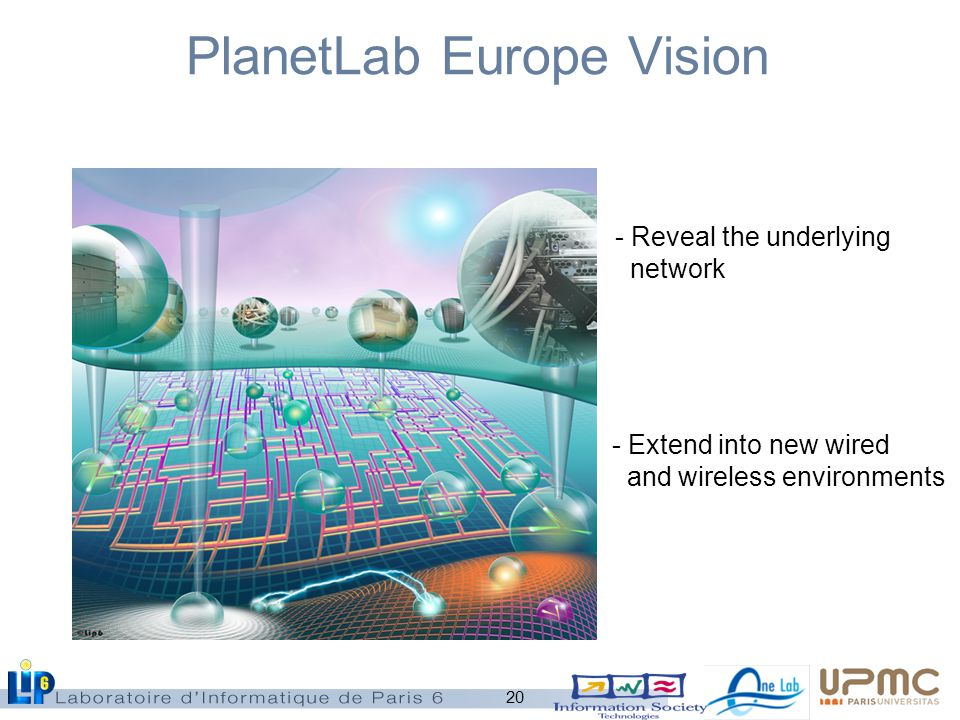 20 PlanetLab Europe Vision - Reveal the underlying network - Extend into new wired and wireless environments