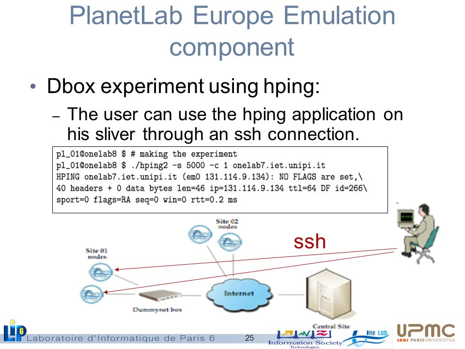 25 PlanetLab Europe Emulation component Dbox experiment using hping: – The user can use the hping application on his sliver through an ssh connection.