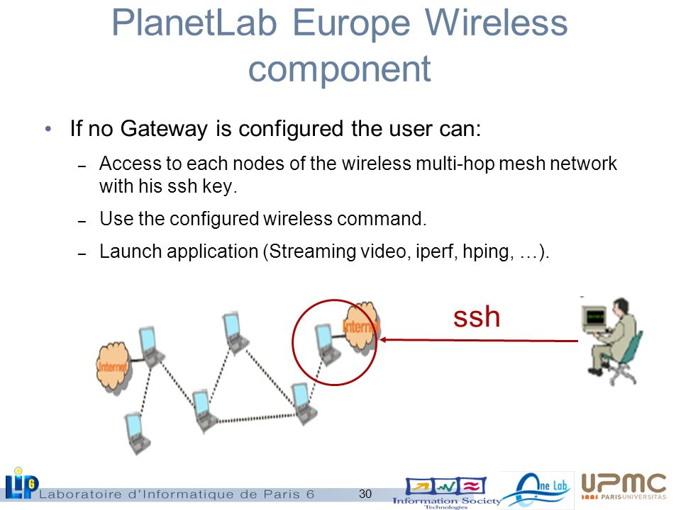 30 PlanetLab Europe Wireless component If no Gateway is configured the user can: – Access to each nodes of the wireless multi-hop mesh network with his ssh key.