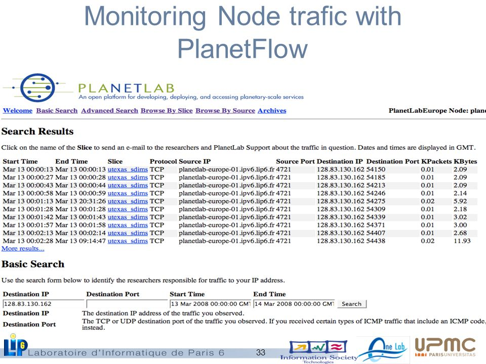 33 Monitoring Node trafic with PlanetFlow
