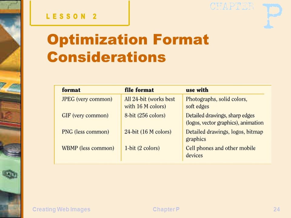 Chapter P24Creating Web Images Optimization Format Considerations
