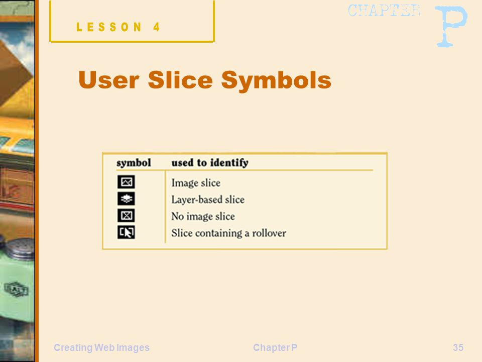 Chapter P35Creating Web Images User Slice Symbols