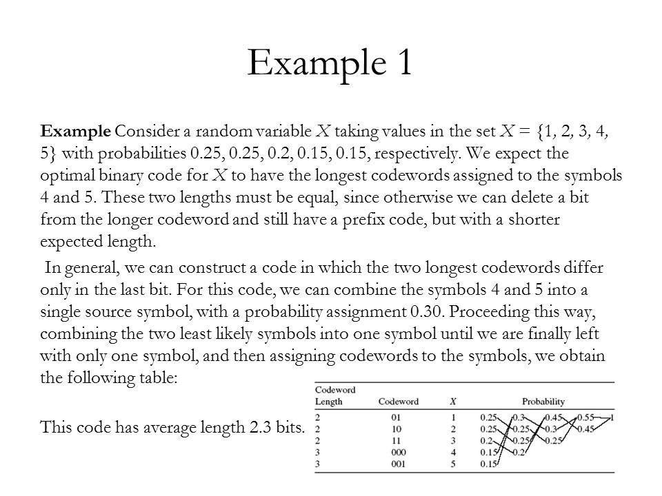 Example 2 Consider a ternary code for the same random variable.