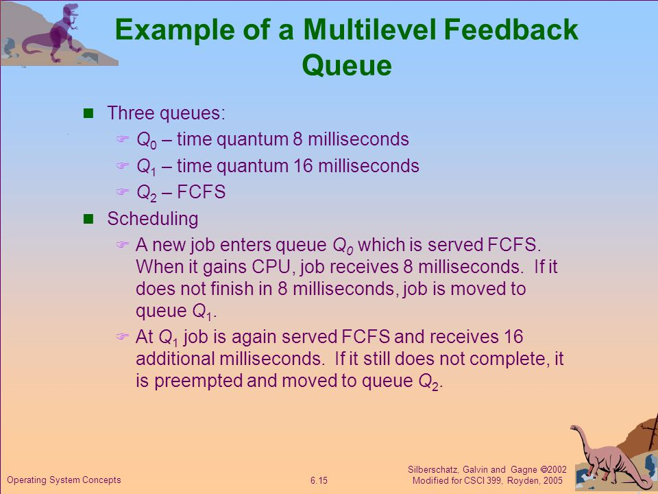 Silberschatz, Galvin and Gagne  2002 Modified for CSCI 399, Royden, 2005 6.15 Operating System Concepts Example of a Multilevel Feedback Queue Three queues:  Q 0 – time quantum 8 milliseconds  Q 1 – time quantum 16 milliseconds  Q 2 – FCFS Scheduling  A new job enters queue Q 0 which is served FCFS.
