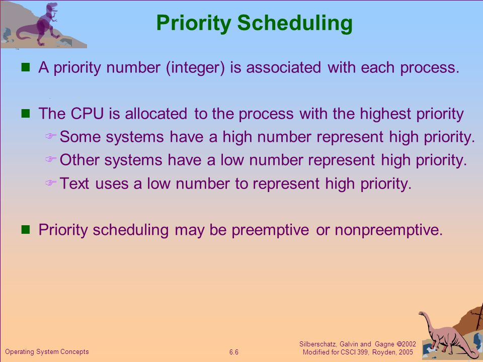 Silberschatz, Galvin and Gagne  2002 Modified for CSCI 399, Royden, 2005 6.6 Operating System Concepts Priority Scheduling A priority number (integer) is associated with each process.