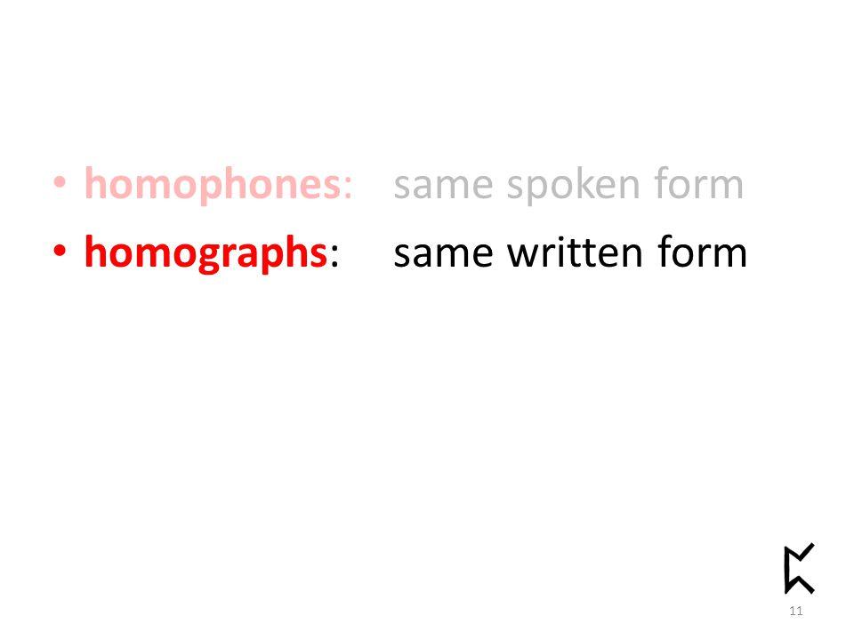 homophones: same spoken form homographs:same written form 11