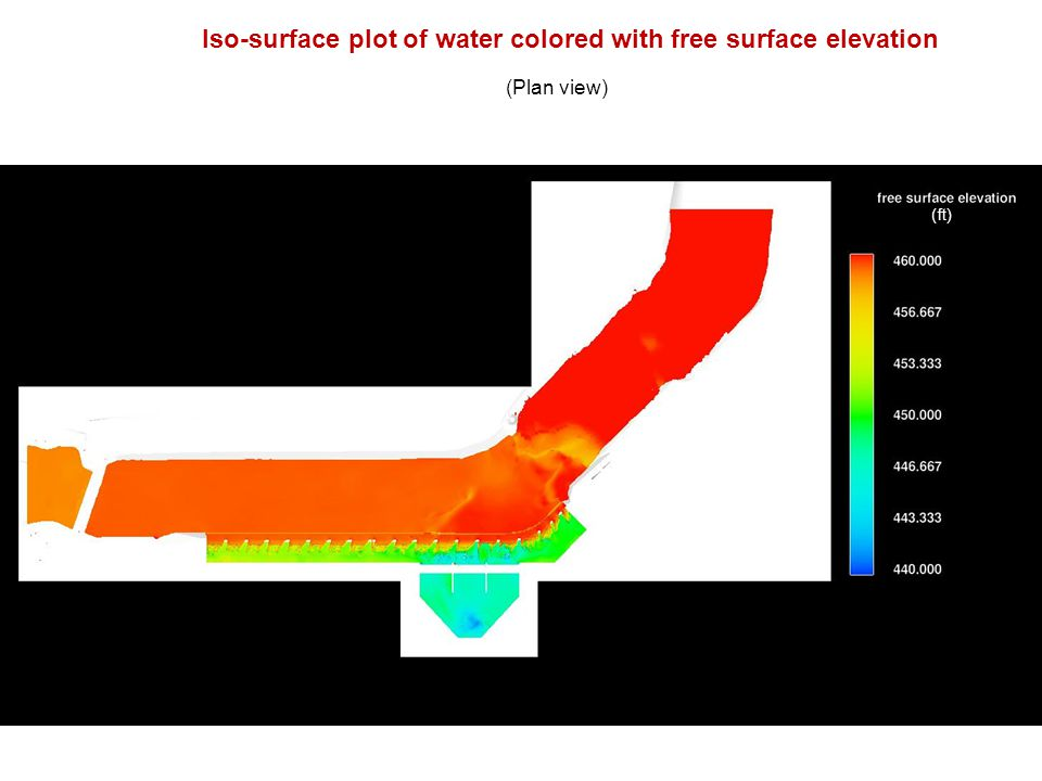 Iso-surface plot of water colored with free surface elevation (Plan view) (ft)