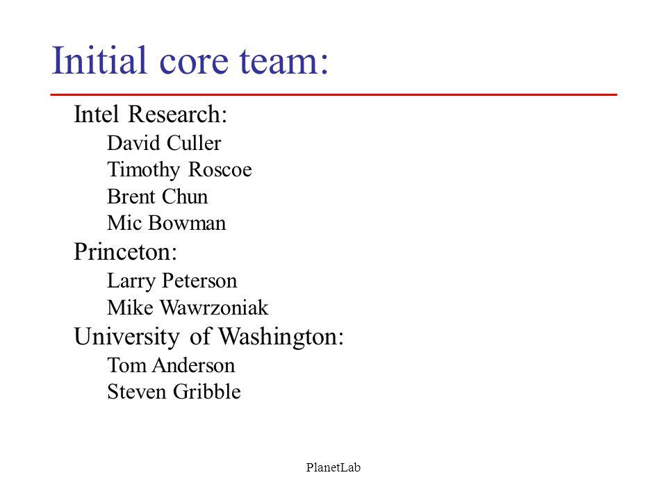 PlanetLab Initial core team: Intel Research: David Culler Timothy Roscoe Brent Chun Mic Bowman Princeton: Larry Peterson Mike Wawrzoniak University of