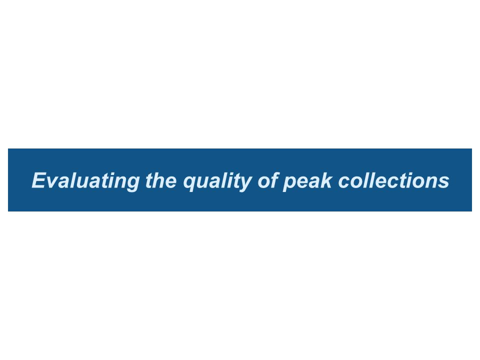 Evaluating the quality of peak collections
