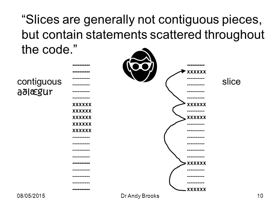 08/05/2015Dr Andy Brooks10 Slices are generally not contiguous pieces, but contain statements scattered throughout the code. contiguous aðlægur ---------- xxxxxx ---------- xxxxxx ---------- xxxxxx ---------- xxxxxx ---------- xxxxxx ---------- xxxxxx ---------- slice