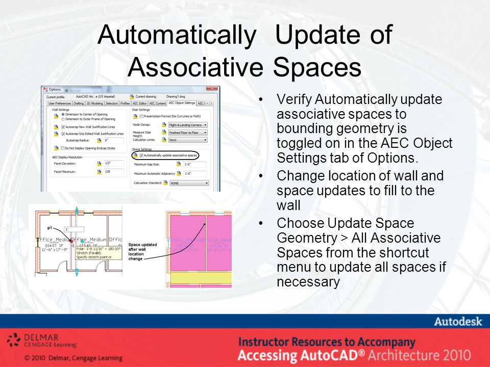 Automatically Update of Associative Spaces Verify Automatically update associative spaces to bounding geometry is toggled on in the AEC Object Settings tab of Options.