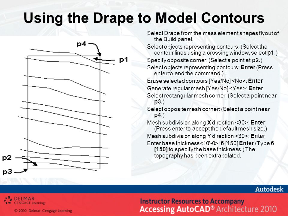 Using the Drape to Model Contours Select Drape from the mass element shapes flyout of the Build panel.