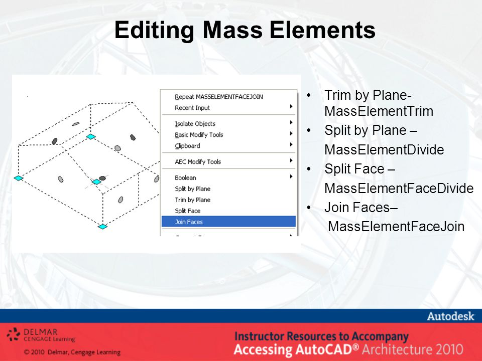 Editing Mass Elements Trim by Plane- MassElementTrim Split by Plane – MassElementDivide Split Face – MassElementFaceDivide Join Faces– MassElementFaceJoin
