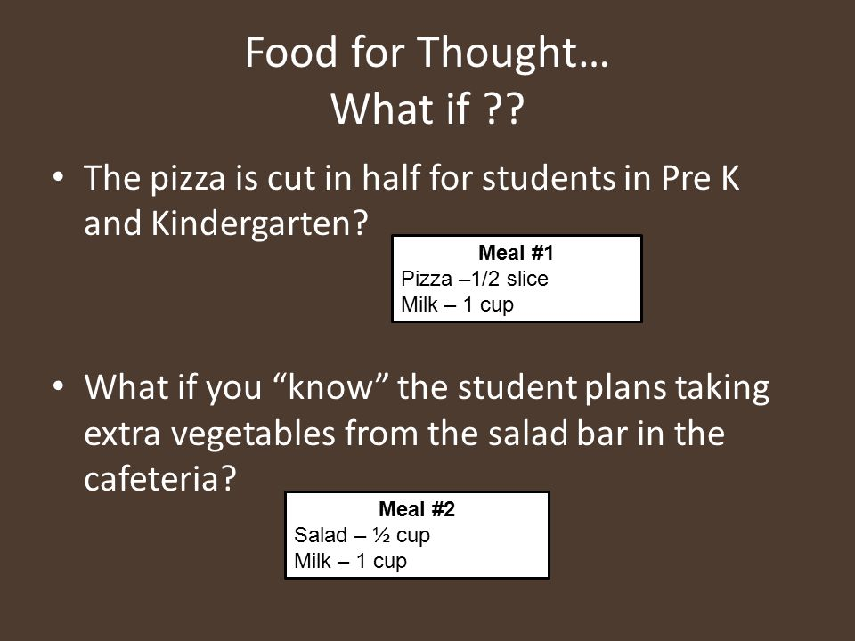 """Food for Thought… What if ?? The pizza is cut in half for students in Pre K and Kindergarten? What if you """"know"""" the student plans taking extra vegeta"""