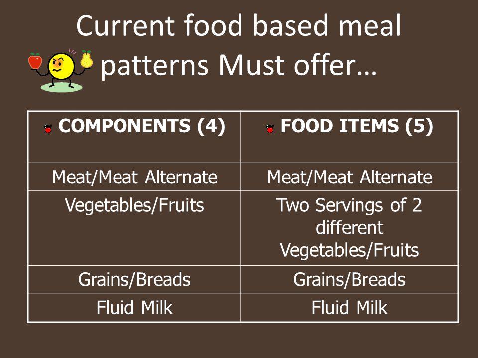 Current food based meal patterns Must offer… COMPONENTS (4) FOOD ITEMS (5) Meat/Meat Alternate Vegetables/FruitsTwo Servings of 2 different Vegetables