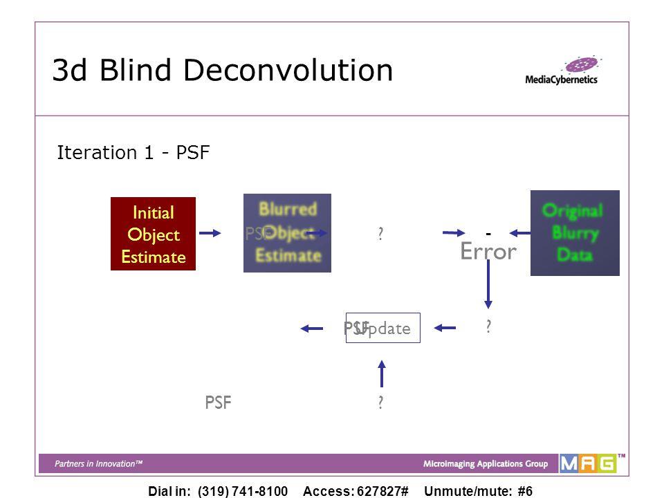 Dial in: (319) 741-8100 Access: 627827# Unmute/mute: #6 Initial Object Estimate Initial Object Estimate 3d Blind Deconvolution PSF Original Blurry Data - Update Error PSF .