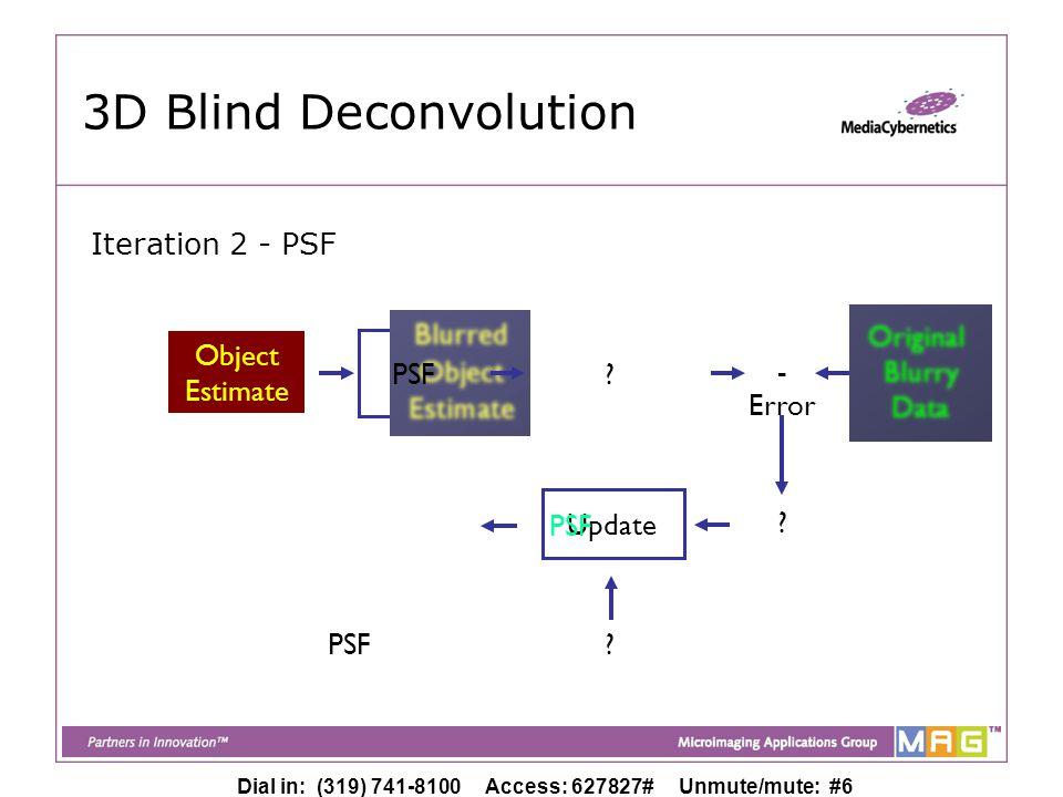 Dial in: (319) 741-8100 Access: 627827# Unmute/mute: #6 Object Estimate Object Estimate 3D Blind Deconvolution PSF Original Blurry Data - Update Error PSF .
