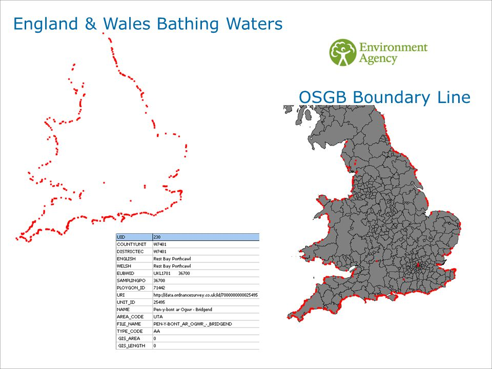 OSGB Boundary Line England & Wales Bathing Waters