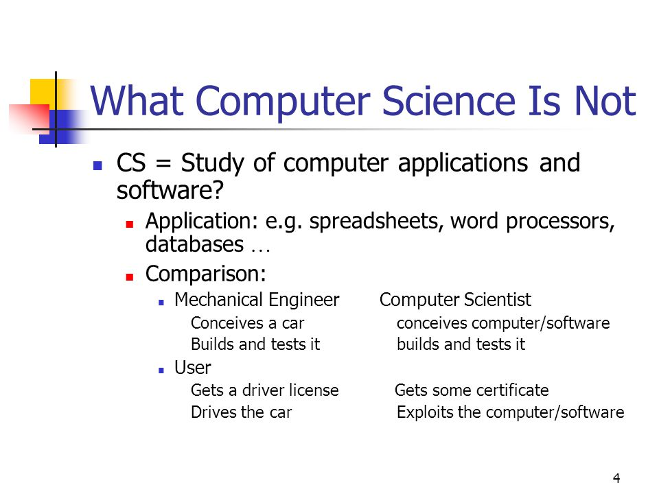 4 What Computer Science Is Not CS = Study of computer applications and software.