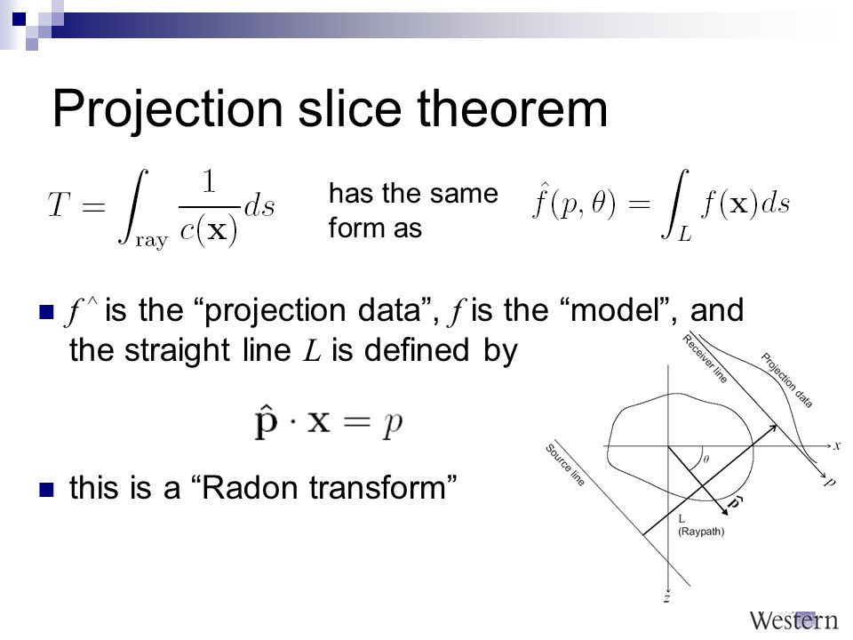 Projection slice theorem f ^ is the projection data , f is the model , and the straight line L is defined by has the same form as this is a Radon transform