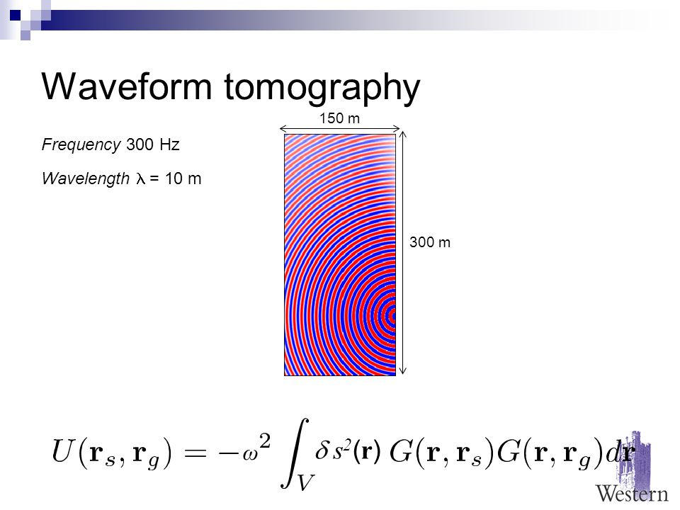 Waveform tomography 150 m 300 m Frequency 300 Hz Wavelength = 10 m  s2(r) s2(r) ω