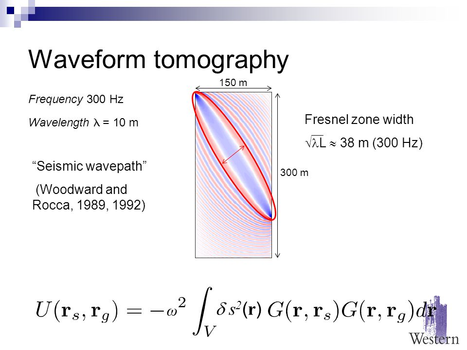 Waveform tomography Seismic wavepath (Woodward and Rocca, 1989, 1992) Fresnel zone width  L  38 m (300 Hz) 150 m 300 m Frequency 300 Hz Wavelength = 10 m  s2(r) s2(r) ω