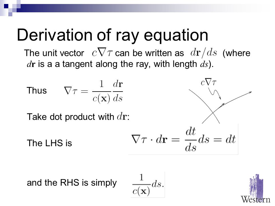 Derivation of ray equation The unit vector can be written as (where dr is a a tangent along the ray, with length ds ).